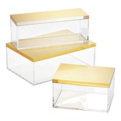 clear acrylic boxes with brushed gold lids $8-$13