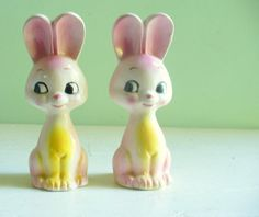 Vintage Pink Bunny Rabbits Salt and Pepper Shakers Kitschy Kitsch Cute Ceramic http://www.etsy.com/listing/79577026/vintage-pink-bunny-rabbits-salt-and #vintage #cute #shabby chic