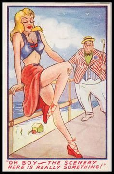 Vintage WW2 Risqué Artist Signed comic Glamour Postcard Great Scenery theme Cartoon Jokes, Sexy Cartoons, Physical Change, Cartoon Styles, Vintage Postcards, Pin Up Girls, Seaside, Laughter, Disney Characters