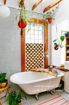 penny tile walls in
