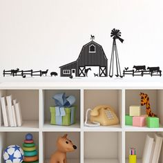 Farm Animals and Barn Scene Sihlouette - Vinyl Wall Art Decal for Homes, Offices, Kids Rooms, Nurseries, Schools, High Schools, Colleges, Universities, Event