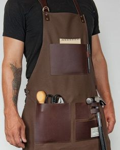 TRVR WAXED CANVAS AND LEATHER GENTLEMAN'S APRON http://www.handeyesupply.com/collections/workaprons/products/trvr-waxed-canvas-and-leather-apron