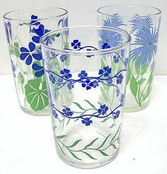 Set of 3 ~ Antique Vintage Blue Flower SWANKY SWIG Juice Glasses ~ Assorted