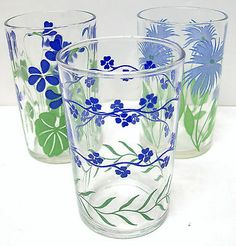 Set of 3 ~ Antique Vintage Blue Flower SWANKY SWIG Juice Glasses ~ Assorted