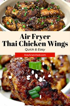 These Easy Thai Chicken Wings are seasoned with a dry rub and then baked to get them crispy. The wings are then drizzled in a sweet and spicy chili sauce and baked again to soak in the flavor. Dry Rub Recipes, Air Fry Recipes, Air Fryer Dinner Recipes, Appetizer Recipes, Cooking Recipes, Dry Rub Chicken Wings, Air Fryer Chicken Wings, Fried Chicken Wings, Thai Chicken