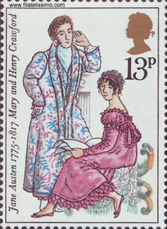 Jane Austen stamp--Mary and Henry Crawford