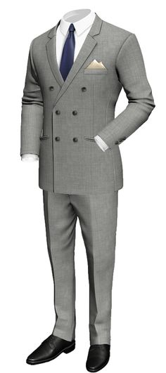 Grey Double breasted 100% Wool Suit - http://www.tailor4less.com/en-us/men/suits/3193-grey-double-breasted-100-wool-suit
