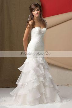 Sweetheart trumpet / mermaid organza bridal gown
