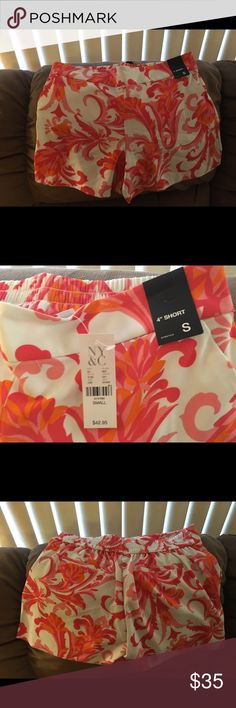 """Brand new New York and Co. 4"""" shirts Beautiful soft material.  White with pink and coral pattern. Tags still on. New York & Company Shorts"""