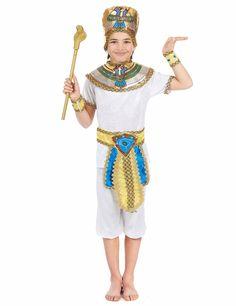 Egyptenaar pak voor jongens: Dit egyptenaar pak voor jongens bestaat uit een T-shirt, een kortebroek, een hoofddeksel, een kraag, een riem, en twee armbanden.Het T-shirt en de kortebroek hebben het aspect van witten...
