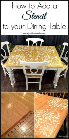 Would you stencil a table top? Or your kitchen table even? See how to add a stencil to a dining set. Painted furniture with a twist
