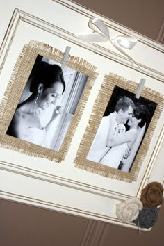 i like the idea of using black & white photos on burlap!