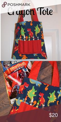 """Boys Dinosaur Mini Crayon Tote! NWT! Adorable NWT Dinosaur print mini crayon tote. Size is approx 7"""" x 8"""". Includes mini coloring book and crayons. Smoke free home. This would make a great soon to be big brother gift! Also great for public quiet time such as libraries, doctor's offices etc. Accessories Bags"""