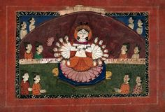 Durga on a lotus with all her weapons surrounded by devotees. Gouache drawing.   Wellcome Collection