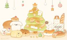 Cute Kawaii Animals, Cute Animal Drawings Kawaii, Kawaii Art, Cute Food Drawings, Cute Cartoon Drawings, Cute Bakery, Cute Pastel Wallpaper, Cute Doodles, Cute Cartoon Wallpapers