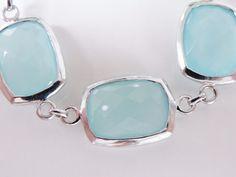 "New Sterling Silver 925 Aqua Blue Chalcedony Station Line Bracelet 7"" - 8.5"" #KHRDesigner #Tennis"