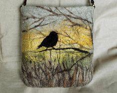 Tasche Schulter gefilzte Tasche Umhängetasche Ledertasche Faser Kunst Geschenk