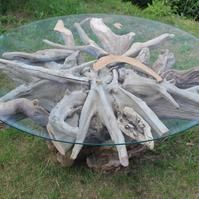 Round Driftwood Coffee Table Glass Top Driftwood Coffee Table Drift Wood Table