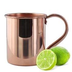 Totally Products Solid Moscow Mule 100-percent Copper Mugs with Smooth Finish 16-ounce with Solid Copper Handle (One Solid Copper Mule Mugs), Gold