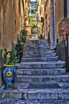 Beautiful Taormina Stairway, province of Messina , Sicily region Italy