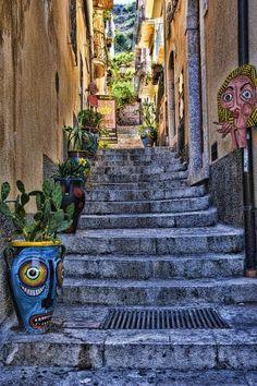 Beautiful Taormina Stairway, Sicily, Italy!!!!!!!!!!!!!!!!!!!!!!!!!!!!!!!!!!!!!!!!!!!!! #messsina #sicilia #sicily