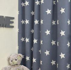 Antraciet Gordijn White Stars | St. White Stars 50082-36 antraciet grijs | Kindergordijnen