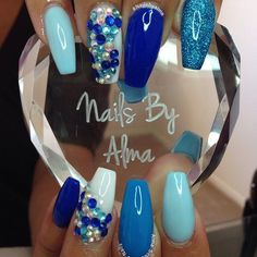 Image result for navy blue and turquoise nails