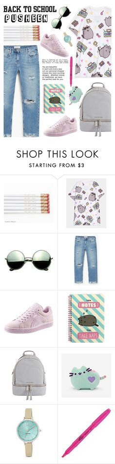 """""""Back to School with PUSHEEN"""" by glamorous09 ❤ liked on Polyvore featuring Pusheen, Revo, MANGO, Puma, MICHAEL Michael Kors, Nine West, BackToSchool, contestentry and PVxPusheen"""