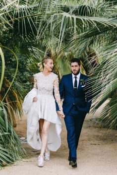Whitney Port's custom wedding gown with a waterfall hemline is unexpected and gorgeous | Hannah Costello