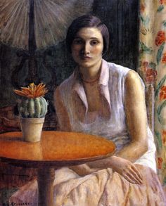 The Athenaeum - Portrait of a Woman with Cactus (Frederick Carl Frieseke - )