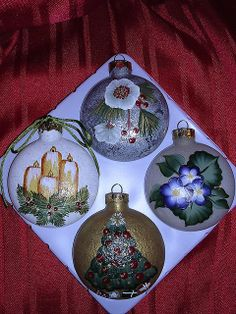 ONE STROKE CHRISTMAS  CLEAR GLASS ROUND ORNAMENTS - SET OF FOUR by Jade Scarlett, via Flickr