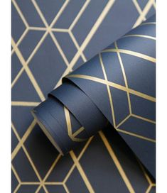 The World of Wallpaper Metro Diamond Geometric Wallpaper features a metallic gold geometric diamond pattern on a matte navy blue background. Blue And Gold Bedroom, Navy Blue Bedrooms, Gold Bedroom Decor, Navy Blue Walls, Bedroom Ideas, Navy Bedroom Walls, Navy Blue Decor, Blue Gold, Master Bedroom