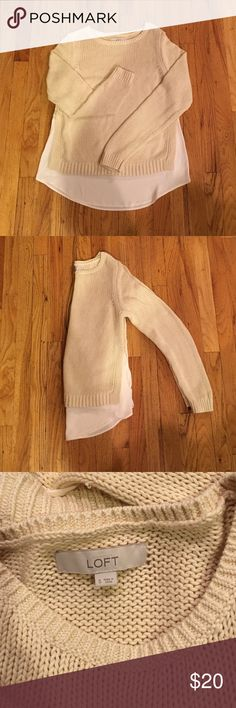 Cotton Sweater with Blouse Bottom A cream cotton Sweater with a blouse bottom is the perfect layered look without the bulkiness! LOFT Sweaters Crew & Scoop Necks