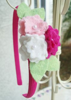 Pink Headband with Triple Pearl Felt Flower - Perfect for School, Kids, Teens and Adults