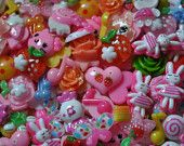 20 Mixed Cabochon Decoden Sweets Deco Cake Bunnies Candy Hearts Fruit Flowers