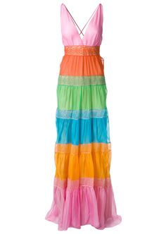 Valentino Dresses :: Valentino multicolor lace panels silk maxi dress | Montaigne Market