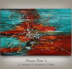 This abstract painting is an original, high quality 100% hand painted oil/acrylic painting on canvas. All of my large wall art is mounted and ready to hang. This wall hanging will look beautiful as office decor, home decor, in any lobby or building, or even in the bedroom, living room, or childrens room decor. I have a vast selection of oversized artwork, large wall art paintings for huge walls. Contact me for any questions, concerns, or custom orders; I am always fast to respond. =...