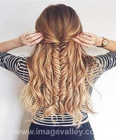 Half Updo Fishtail Braid hairstyle 2016 | Image Valley