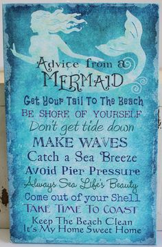 Advice from a Mermaid Canvas - Get Your Tail to the Beach - Keep the Beach Clean - Nautical Wall Decor - California Seashell Company | For more mermaid love follow https://www.pinterest.com/thevioletvixen/wish-you-were-a-mermaid/