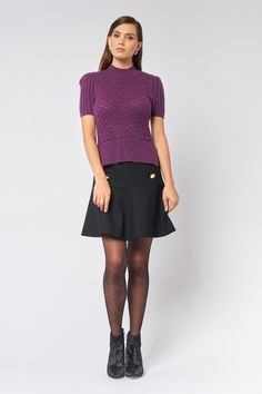 Top in Blue, Orchid Sweet Sundays, Work Wardrobe, New Work, Orchid, Skater Skirt, Skirts, Cute, Tops, Fashion
