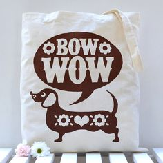 Sausage Dog Tote Bag by Snowdon on Etsy, $16.00