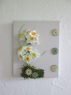 Tableau avec fleurs artificielles, narcisses, 3D, art floral, composition florale, mariage, cadeau : Décorations murales par boutik08