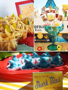Jimmy Buffet party...I LOVE the french fry cups with pickles! This would be a great idea to incorporate into a BBQ party as well.
