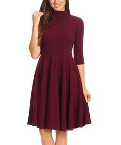 Look what I found on #zulily! Burgundy Side-Pocket Mock Neck Dress - Plus Too #zulilyfinds