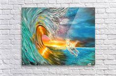 Acrylic Print, impressive, seascape, for sale, ocean, scene, waves, sunset, sunrise, big, high,  water,wild,crashing,breaking,horse,running,light,beautiful,colorful,multicolor,blue,gold,golden,bright,impressive,fantastic,fine art ,oil painting,scenic,modern,virtual,deviant,wall,art,awesome,cool,artistic,artwork,decor,items,ideas, pictorem
