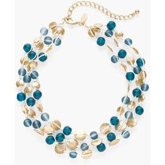Chico's Calla Multi-Strand Necklace (3.235 RUB) ❤ liked on Polyvore featuring jewelry, necklaces, blue, chicos necklaces, multi strand beaded necklace, blue multi strand necklace, multi-strand necklace and fake jewelry