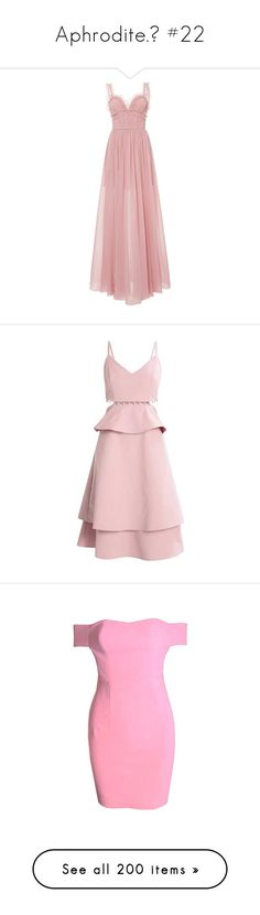 """""""Aphrodite.♡ #22"""" by xiuchen-was-taken ❤ liked on Polyvore featuring dresses, gowns, pink, ruched dress, plunge neck gown, sweetheart gowns, pink evening dress, ruched gown, summery dresses and summer day dresses"""