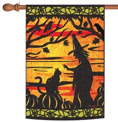 NEW Toland - Witch's Best Friend - Halloween Cut Out Kitty Cat Web House Flag #TolandHomeGarden