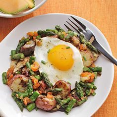 Made with asparagus, roasted red pepper and mushrooms, this hash has a fresh and light, springtime taste. Serve with hearty whole-grain toast and an egg or two on top.  Recipe: Potato, Asparagus, and Mushroom Hash  - Delish.com