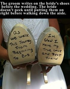 The groom writes on the bride's shoes before the wedding love love quotes wedding beautiful shows weddings marriage love quote bride groom wife husband Cute Wedding Ideas, Wedding Goals, Perfect Wedding, Our Wedding, Wedding Planning, Dream Wedding, Wedding Stuff, Wedding Album, Wedding Humor